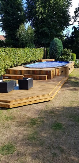 Bespoke rustic, decked swimming pool area